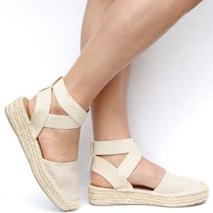 Shoes - New Beige Mary Jane Espadrille Flats Sandals